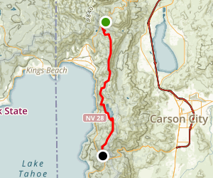 Tahoe Rim to Spooner Lake Map