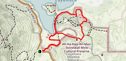 Stonewall Mine / Lake Cuyamaca Hike Map