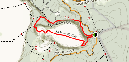 Kilauea Iki Trail and Crater Rim Trail Map