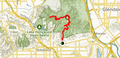 Ferndell Trail to the Hollywood Sign Map