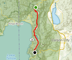 Tahoe Rim Trail, Tunnel Creek Road, Tahoe Flume Trail, Marlette Lake to Spooner Lake Map