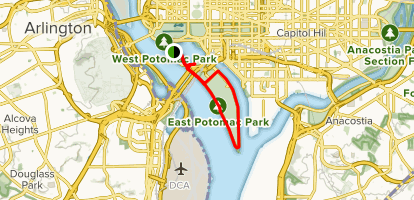 Tidal Basin and Hains Point Map