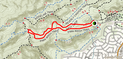 Pima Wash Trail to West Loop Map