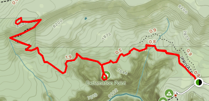 Green Mountain Summit Via North Vista Trail Map