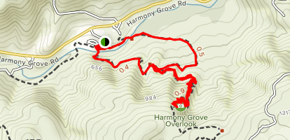 Way Up Trail to Harmony Grove Overlook Map