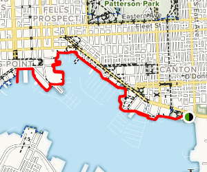 Baltimore Waterfront Promenade: Canton Waterfront Park to Fells Point Map