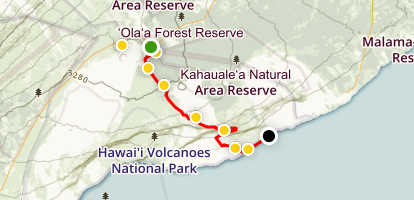 Hawai'i Chain of Craters Drive Map