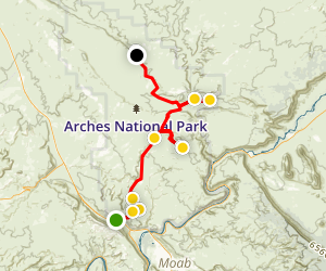 Arches National Park Driving Tour Map
