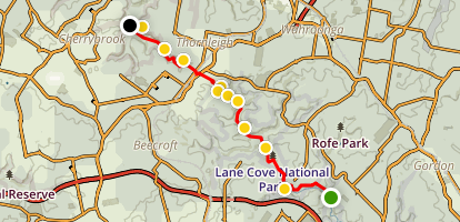 Great North Walk: Jungo Rest Area to West Pymble Map