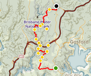 Somersby to Staples Lookout: Hike Great North Walk Map