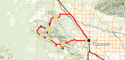 Saguaro National Park West and Old Tucson Studios Scenic Drive Map