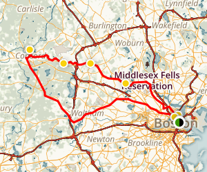Paul Revere Ride to Freedom Bike Tour Map