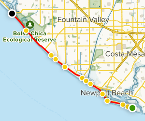 West Oceanfront Trail to the Huntington Beach Bike Trail Map