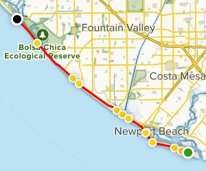 West Oceanfront Trail To The Huntington Beach Bike Map