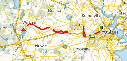 Charles River Reservation Full Bike Loop Map