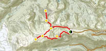 Sunrise Rim Trail Loop and Mt. Freemont Lookout Map
