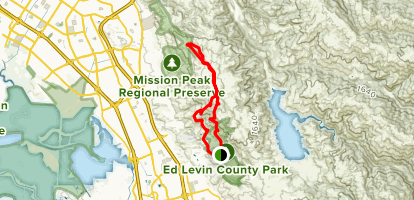 Mission Peak via Bay Area Ridge Trail and Ed Levin Park Map