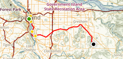 Waterfront Bike Path to Springwater Corridor Path Map