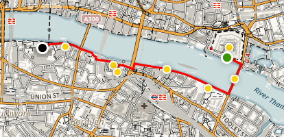 South Bank of the Thames Walking Tour Map