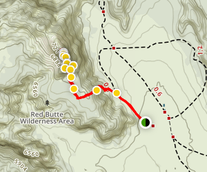 Red Butte Trail in Kolob Terrace Map