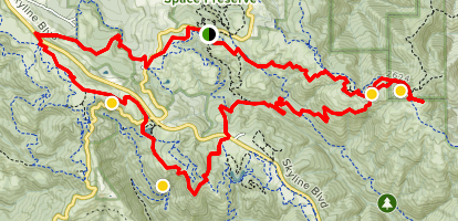 Loop Through Monte Bello, Skyline Ridge, Russian Ridge, and Coal Creek Map
