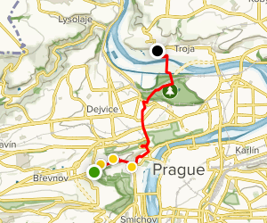 Prague Walking Tour: Strahov Monastery to Troja Castle   Map