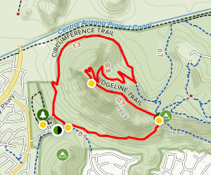 Deem Hills Circumference Trail with Ridgeline and Summit Map