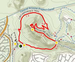Deem Hills Circumference Trail with Summit Map