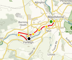 Maidstone West to East Farleigh via Medway Valley Rail Trail Map