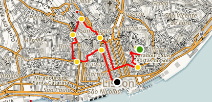 Lisbon Highlights Tour Map