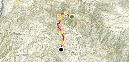Janapar Trail - Dadivank to Zuar Map
