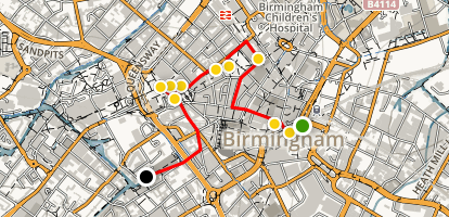 Birmingham Architecture Walking Tour Map