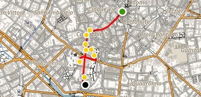 Via Torino to the Basilicas Walking Tour Map