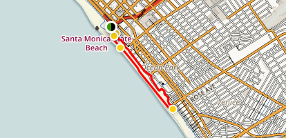Santa Monica Pier, Boardwalk, and Beach Trail Map