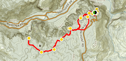 Pohono Trail: Glacier Point to Dewey Point Map