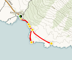 King's Highway, Hoapili Trail to Hanomanioa Lighthouse and Kamanamana Beach Map