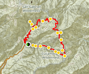 Three T's Trail via Icehouse Canyon Map