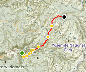 John Muir Trail: Happy Isles to Tuolumne Meadows Map