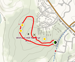 Witham Hill Natural Area Uphill Loop Map