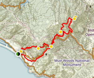 Stinson Beach to Mount Tamalpais Map