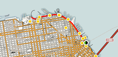 The Embarcadero to Fisherman's Wharf Map
