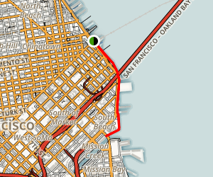 The Embarcadero to AT&T Park and McCovey Cove Map