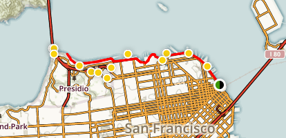 Ferry Building to Marina Green, Chrissy Field, and the Golden Gate Bridge Map