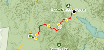 Map Of Arizona Freeway Shootings.Four Peaks Ohv Road 143 To Route 188 Arizona Alltrails