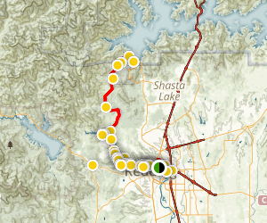 Sundial Bridge to Shasta Dam Map