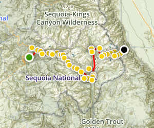 High Sierra Trail : Crescent Meadow to Whitney Portal Map
