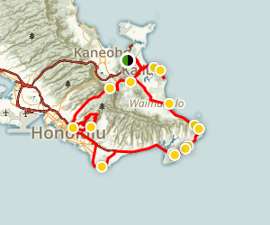 Oahu's East Shore Beaches and Parks Tour Map