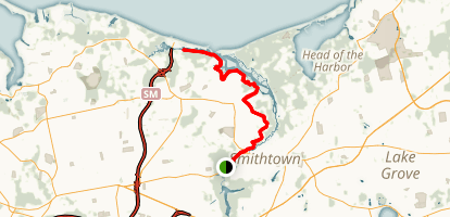 Smithtown to Sunken Meadow State Park Map