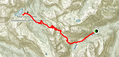 Buckskin Pass Trail to Snowmass Lake Map