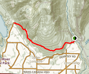 Lynn Valley to Grouse Mountain Map